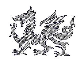 welsh dragon engraving logo