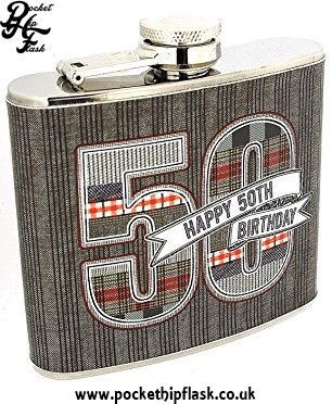 5oz Stainless Steel Hip flask Denim Collection Happy 50th