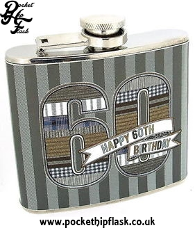 5oz Stainless Steel Hip flask Denim Collection Happy 60th