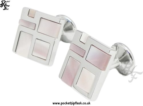 Abstract Pink Mother of Pearl and Shiny Square Metal Dress Cufflinks