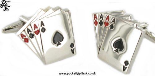Ace Cards Metal Dress Cufflinks