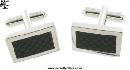 Black Enamel Rectangle Metal Dress Cufflinks