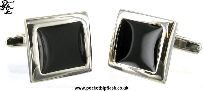 Black Enamel Square Metal Dress Cufflinks