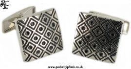 Black Square and Dots Square Metal Dress Cufflinks