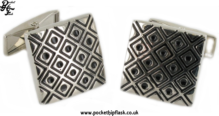 Black Square and Dots Square Metal Dress Cufflinks