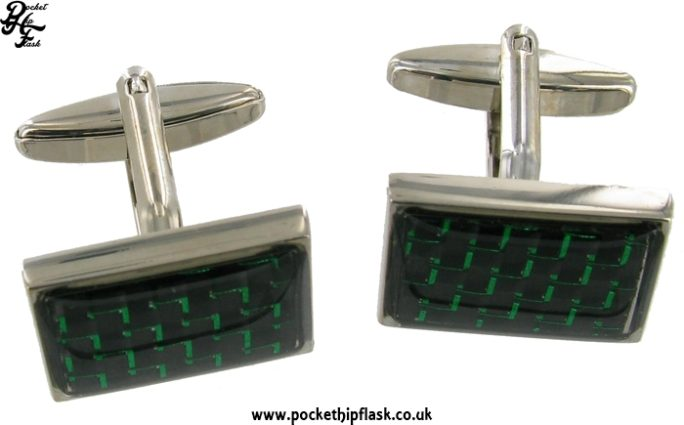 Black and Green Rectangle Metal Dress Cufflinks