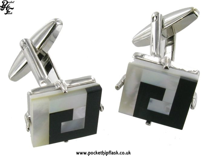 Black and Mother of Pearl Square Metal Dress Cufflinks