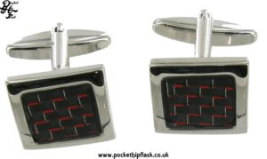 Black and Red Square Metal Dress Cufflinks