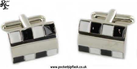 Black and White Chequered Enamel Rectangle Metal Dress Cufflinks