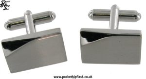 Brushed Rectangle Metal Dress Cufflinks with Shaved Shiny Corner