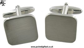 Brushed Square Metal Dress Cufflinks with Rounded Corners