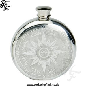 Compass Design Round 6oz Pewter Hip Flask