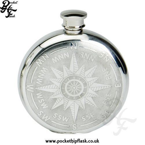 Compass Design Round 6oz Pewter Hip Flask