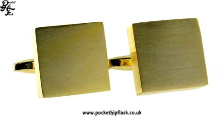 Gold Coloured Brushed Square Metal Dress Cufflinks