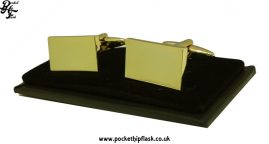 Gold Coloured Shiny Rectangle Metal Dress Cufflinks