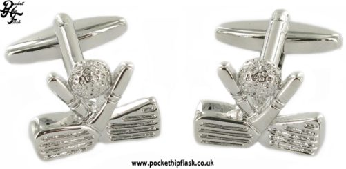 Golf clubs and ball Metal Cufflinks