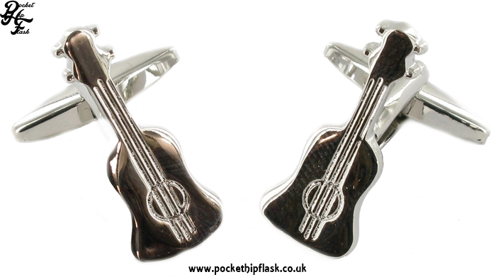 Guitar Shaped Metal Cufflinks