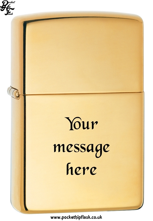 High Polish Shiny Brass Zippo Lighter with message