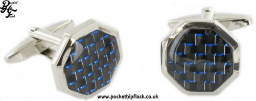 Octagon Metal Dress Cufflinks Black and Blue