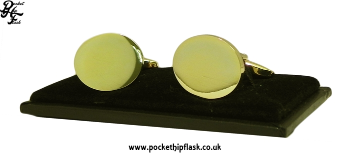 Oval Gold Coloured Metal Dress Cufflinks