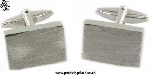 Plain Brushed Engravable Rectangle Metal Dress Cufflinks