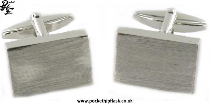 Plain Brushed Engravable Rectangle Metal Dress Cufflinks