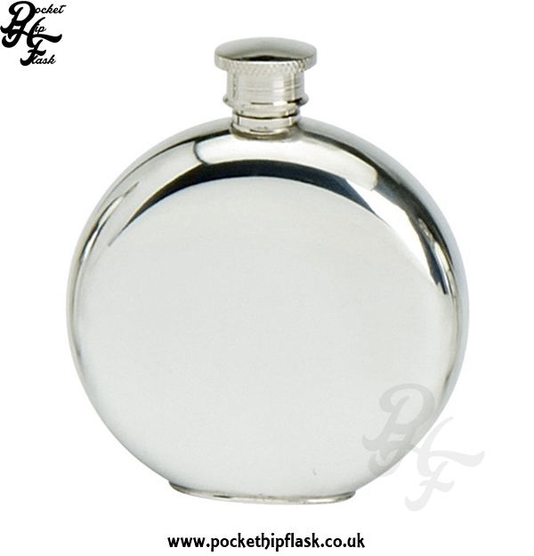 Plain Round 4oz Pewter Hip Flask