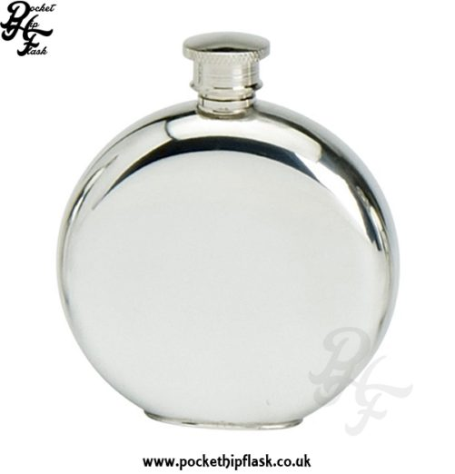 Plain Round 6oz Pewter Hip Flask