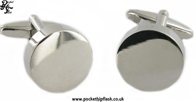 Plain Shiny Engravable Round Metal Dress Cufflinks