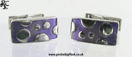 Purple with Circles Rectangle Metal Dress Cufflinks