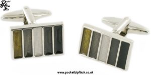 Rectangle Metal Dress Cufflinks with Enamel Striped Design