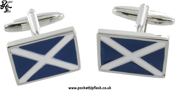 Rectangle Scottish Saltire Metal Cufflinks