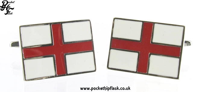 Rectangle St. Georges Cross Metal Dress Cufflinks