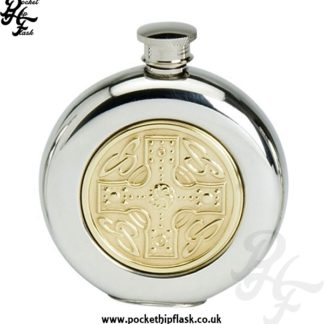 Round 6oz Pewter Hip Flask with Celtic Cross Brass Insert