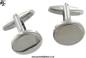 Round Metal Dress Cufflinks with Indent detail