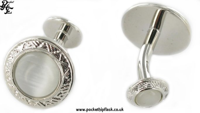Round Pearl Shiny Metal Dress Cufflinks with Ball Return