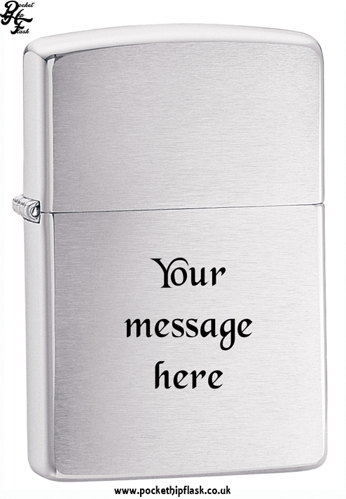 Shiny Chrome Zippo Lighter with Brushed effect with message