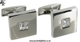 Shiny Square Metal Dress Cufflinks with Single Crystal