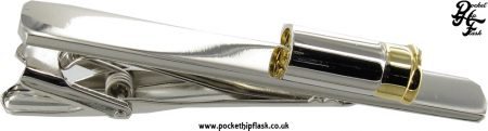 Shiny Stainless Steel Tie Clip with Gun Cartridge