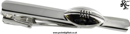Shiny Stainless Steel Tie Clip with Rugby Ball