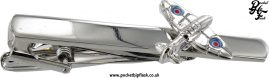 Shiny Stainless Steel Tie Clip with Spitfire Plane
