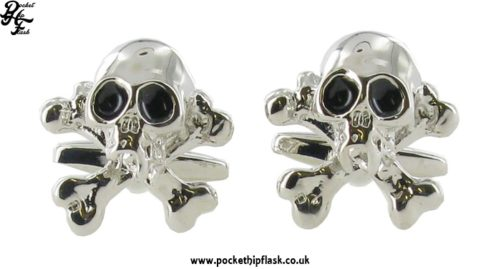 Skull and Cross Bones Novelty Shiny Metal Cufflinks