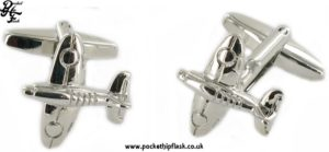 Spitfire Shaped Metal Cufflinks