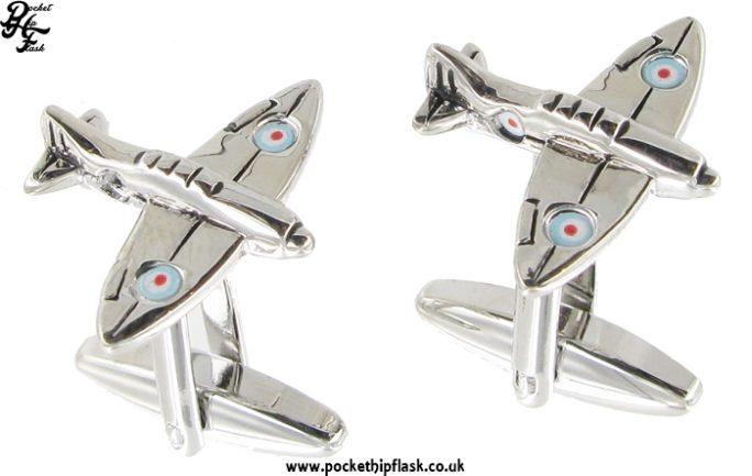 Spitfire Shaped Metal Cufflinks with Painted Bullseye