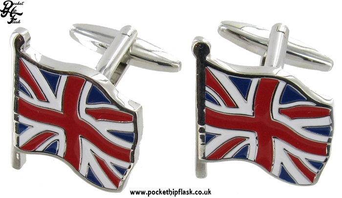 Union Jack Flag Metal Dress Cufflinks