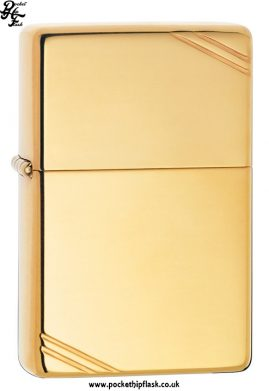 Vintage Style Shiny Brass Zippo Lighter with Corner Slashes