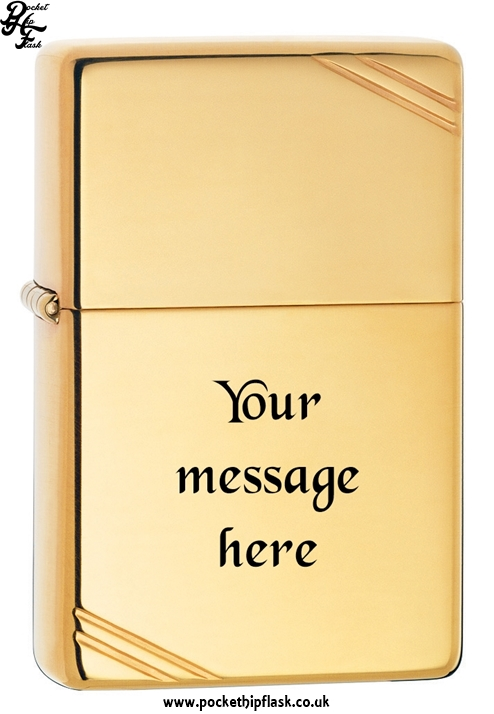 Vintage Style Shiny Brass Zippo Lighter with Corner Slashes with message