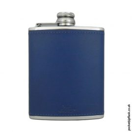 6oz Light Blue Luxury Leather Stainless Steel Hip Flask