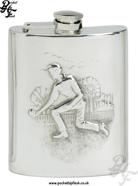 6oz Pewter Lawn Bowls Hip Flask with captive top