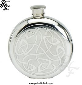 6oz Round Pewter Flask with Celtic Pattern